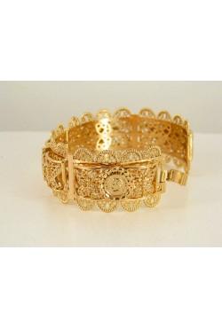 Bracelet avec motifs en plaqué or, bijou oriental travaillé à la main