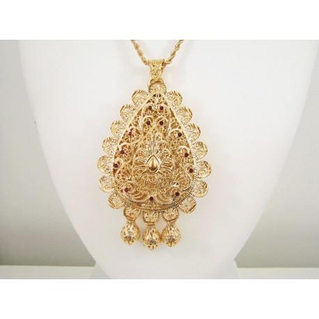 Collier sautoir travaillé en relief - pendentif khalb bijou oriental