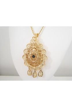 Bijoux berbères collier sautoir travaillé et pendentif avec pierres incrustées- bijou oriental