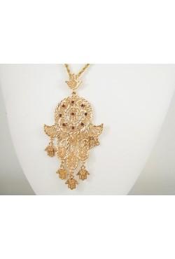 Bijoux berbères collier et pendentif main de Fatma en plaqué or