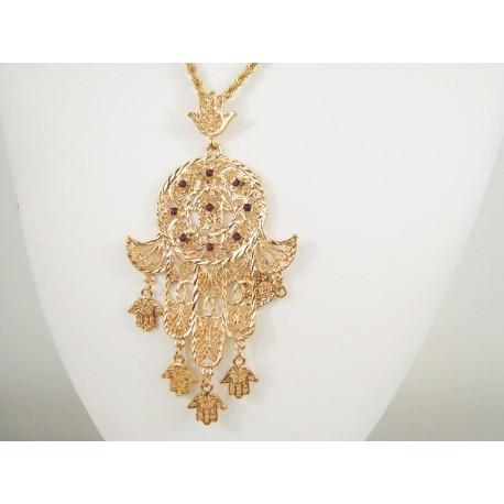 Collier et pendentif main de Fatma - Bijou oriental avec cristaux rouge