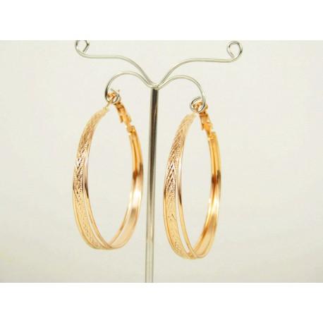 Grande boucle d'oreille créole - Bijou oriental en plaqué or
