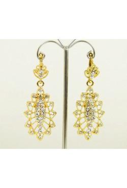 Pierres incrustées dans boucles d'oreilles créoles - Bijou oriental en plaqué or