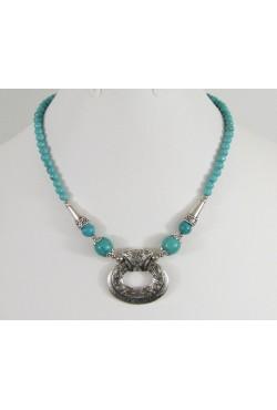 Collier tibétain Népal avec pierres et perles turqupoises