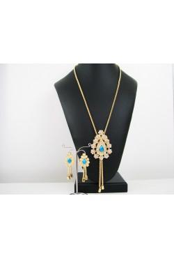 Bijoux parure oriental avec pierres bleues