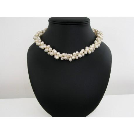 Collier perles de culture blanc ras de cou