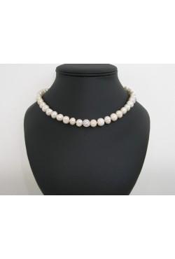 Collier perles de culture ras de cou - Perles d'eau douce blanche