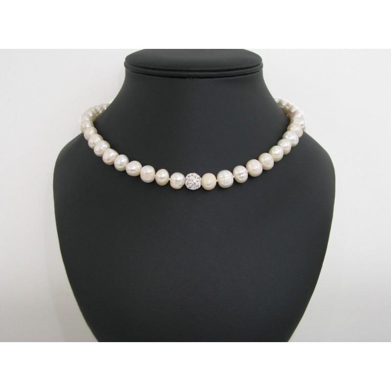 collier de perles de culture blanche. Black Bedroom Furniture Sets. Home Design Ideas