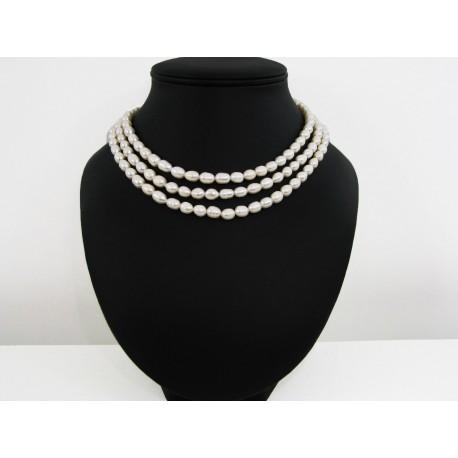 Collier perles de culture blanches 3 rangs