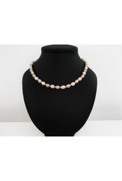 Collier perles de culture de couleur blanche et pêche