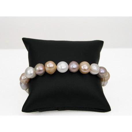 Bracelet en perles de culture couleur pêche