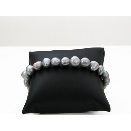 Bracelet en perles de culture grises
