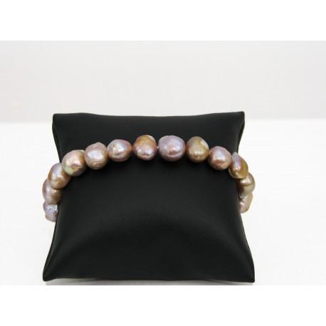 Bracelet en perles de culture mauve au reflet doré