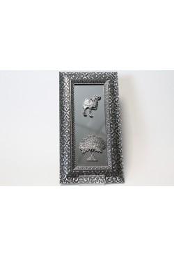Cadre miroir oriental argenté