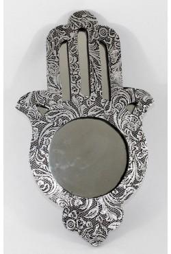 Miroir oriental main de fatma argenté
