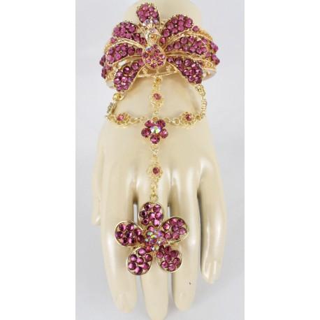 Bijou oriental mauve en plaqué or bracelet de bague fleur de pan