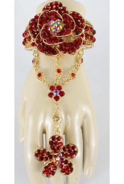 Bracelet de bague rouge en fleur plaqué or bijou oriental