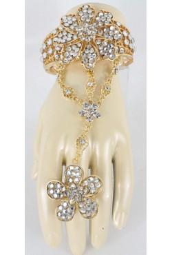Parure de main blanc en fleur plaqué or