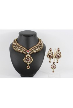 Bijoux indou Bollywood parure bordeaux
