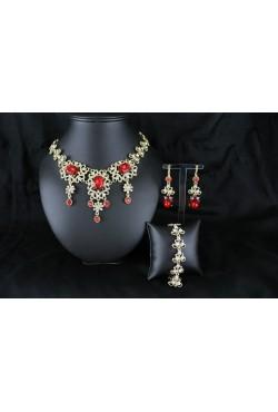 Bijou oriental parure plaqué or en rouge ou blanc