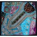 Housse de coussin bleu patchwork
