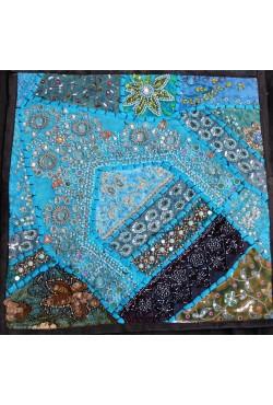 Housse coussin 40x40 patchwork bleu
