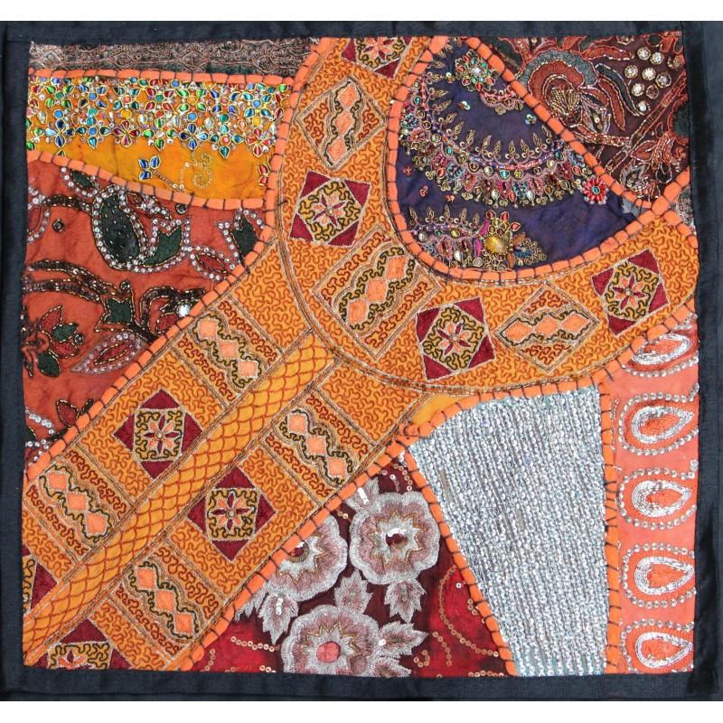 housse de coussin patchwork orange pas cher. Black Bedroom Furniture Sets. Home Design Ideas