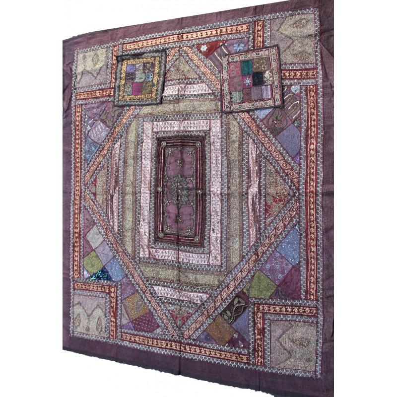 acheter couvre lit patchwork indien 220cm x 260cm. Black Bedroom Furniture Sets. Home Design Ideas