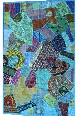 Nappe tenture patchwork indien bleu
