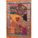 Tenture patchwork orange décoration indienne