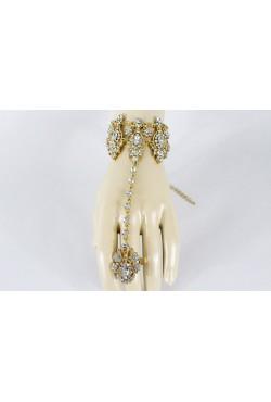 Parure de main bracelet de bague plaqué or