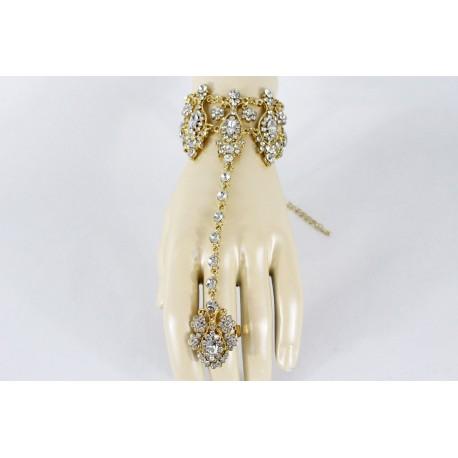 Bijou oriental turquoise en plaqué or bracelet de bague