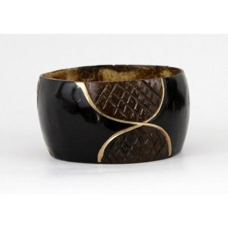 Bracelet africain en coque de coco du Kenya