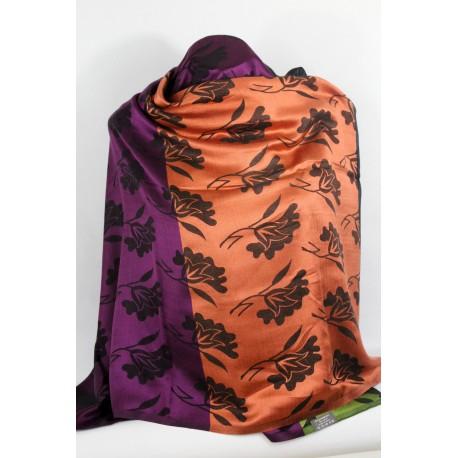 Etole en soie feuilles tissés mauve