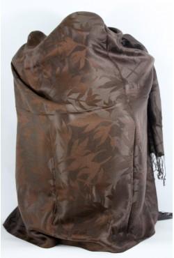 Etole en soie feuilles tissés marron