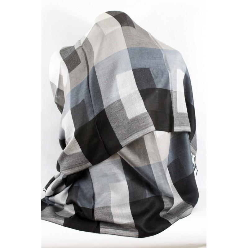 0d3d39742bd Acheter chale en soie à carreaux noir et blanc pas cher