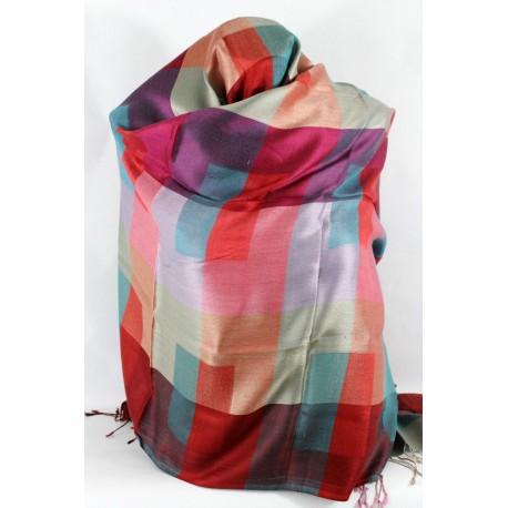 Chale en soie à carreaux rose et bleu
