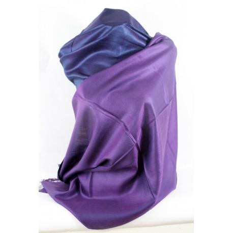 Etole en soie réversible violet