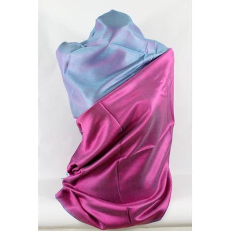 Etole en soie réversible lilas bleu
