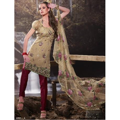 Tunique brodée avec une étolle et un pantalon - Salwar kameez