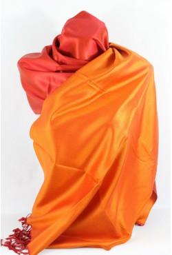 Etole en soie réversible orange