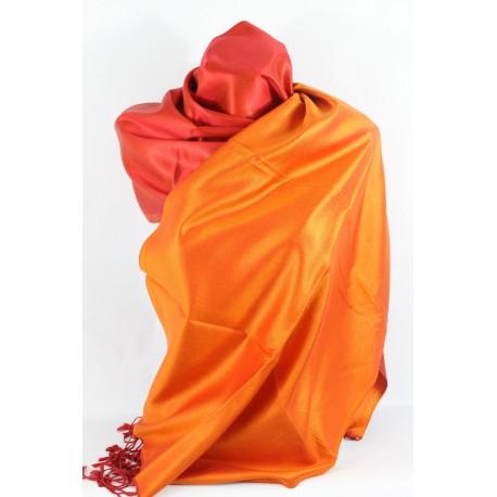 Etole en soie réversible rose orange