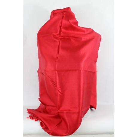 Etole en soie réversible rouge