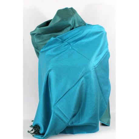 Etole en soie réversible bleu minéral