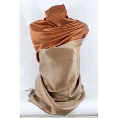 Etole en soie couleur bronze