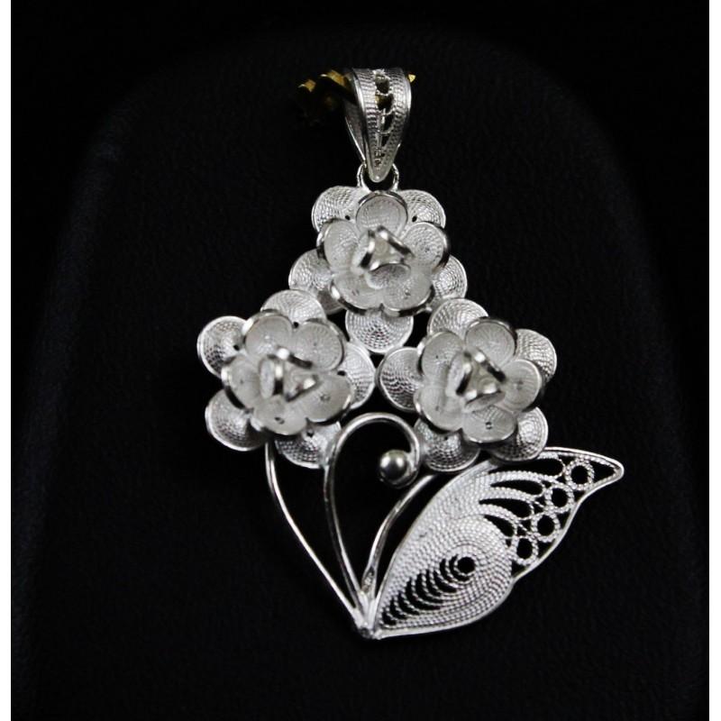 Bijoux Argent Filigrane : Bijoux filigrane argent pendentif bouquet de fleur