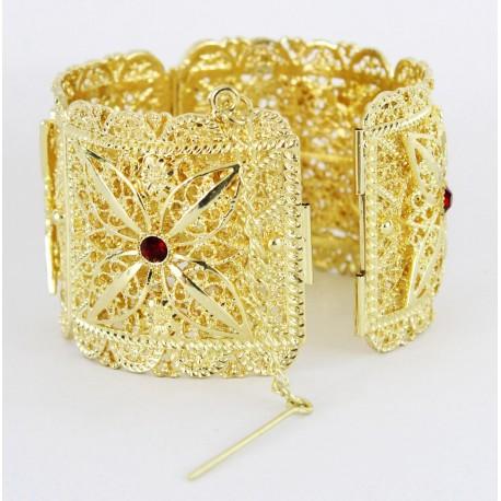 Bijou de tradition orientale bracelet avec pierres rouge en plaqué or pas cher