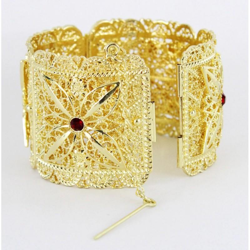 Bijou de tradition orientale bracelet avec pierres rouge en plaqué or pas  cher ce083d518c30