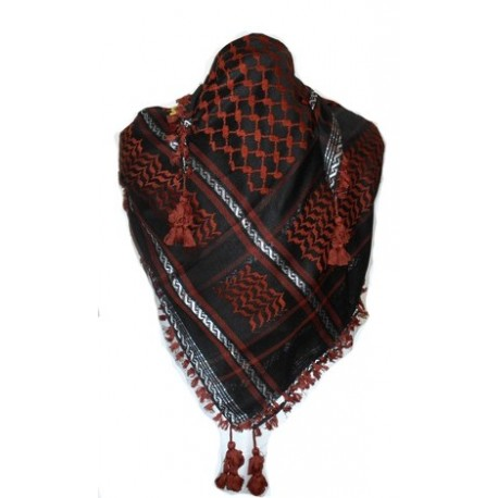 Keffieh foulard palestinien rouge et noir