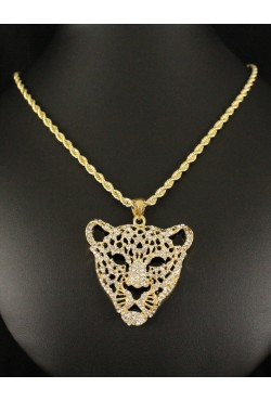 Collier et pendentif tête de léopard plaqué or